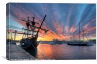 Port Vell Sunrise - Barcelona, Canvas Print