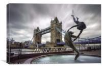 London Tower Bridge & Dolphin Fountain, Canvas Print