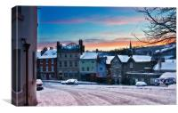 Wirksworth Market Place in Winter, Canvas Print