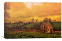 Misty morning on Bonsall Moor, Canvas Print