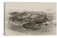 Monsal Dale Viaduct B&W, Canvas Print