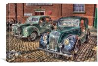 Morris 8 & Ford Prefect HDR, Canvas Print
