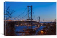 Forth road bridge at sunset, Canvas Print