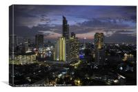 Bangkok Night Skyline, Canvas Print