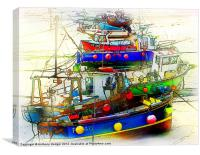 Painted Boats in the harbour, Canvas Print