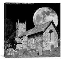 The Old Church and moon, Canvas Print