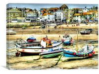 Boats in St. Ives Harbour, Canvas Print