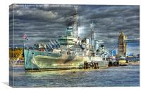HMS Belfast near Tower Bridge, Canvas Print