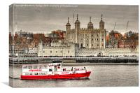 The Little Red Boat and The Tower of London, Canvas Print