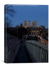York Minster Via The Wall, Canvas Print