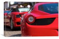 Red Ferraris in a line, Canvas Print