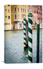 Green and White poles in Venice, Canvas Print