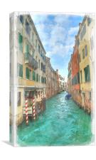 Venetian Canals Watercolour, Canvas Print