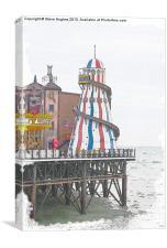 Brighton Pier Helter Skelter watercolour, Canvas Print