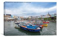 Fishing boats at Tenby harbour, Canvas Print