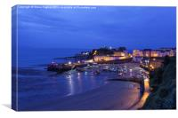 Tenby harbour at night, Canvas Print