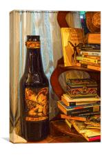 Bottle and Books, Canvas Print