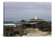 Godrevy Lighthouse from the Beach, Canvas Print