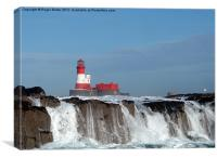 Waves Break at Longstone Lighthouse, Canvas Print