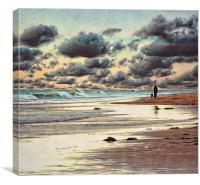 Walking the dog, Canvas Print
