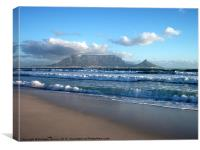 Table Mountain, Cape Town, Bloubergstrand, Canvas Print