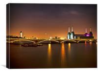Battersea Powerstation at Night, Canvas Print