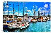 Boats in Penzance Harbour, Canvas Print