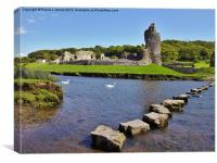 Ogmore Castle & Stepping Stones, Canvas Print