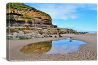 Amroth Beach & Cliffs, Canvas Print