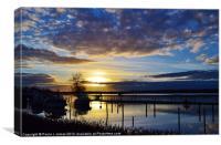 Sunset at Bredon Marina, Canvas Print