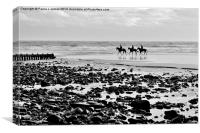 Horses on Amroth Beach, Canvas Print