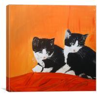 Twin Kittens in Art, Canvas Print