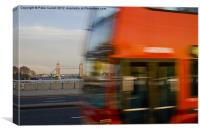 London Bus and Tower Bridge., Canvas Print