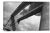 Tower Bridge London Mono., Canvas Print