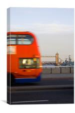 London Bus With Tower Bridge, Canvas Print