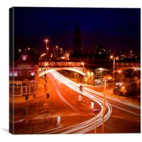 Manchester City Urban Night Lights, Canvas Print
