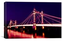 Albert Bridge London night view, Canvas Print