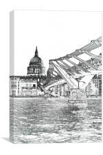Millenium Bridge and St Pauls, Canvas Print