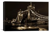 Tower Bridge And The Girl and Dolphin Statue, Canvas Print