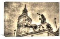 Big Ben and Boadicea Statue, Canvas Print