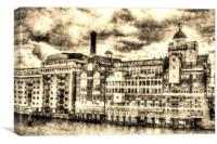 Butlers Wharf London Vintage, Canvas Print