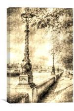 River Thames Path Vintage, Canvas Print