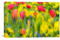Pastel Summer Flowers , Canvas Print
