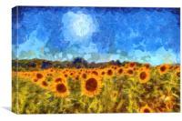 Sunflower Fields Van Gogh, Canvas Print