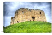York Castle And Daffodils, Canvas Print