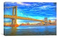 Manhattan Bridge Pop Art, Canvas Print