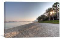 Dubai Beach Sunset, Canvas Print