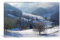 Swiss Snow Scene, Canvas Print