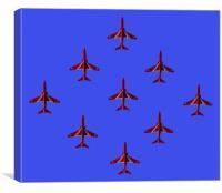 red and blue diamond nine, Canvas Print