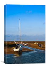 Low tide harbour., Canvas Print